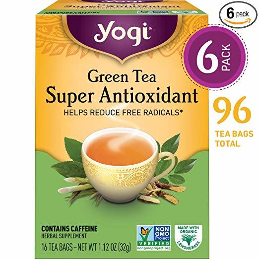 box of yogi brand green tea