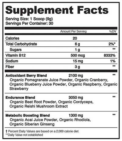 organifi red juice supplement facts