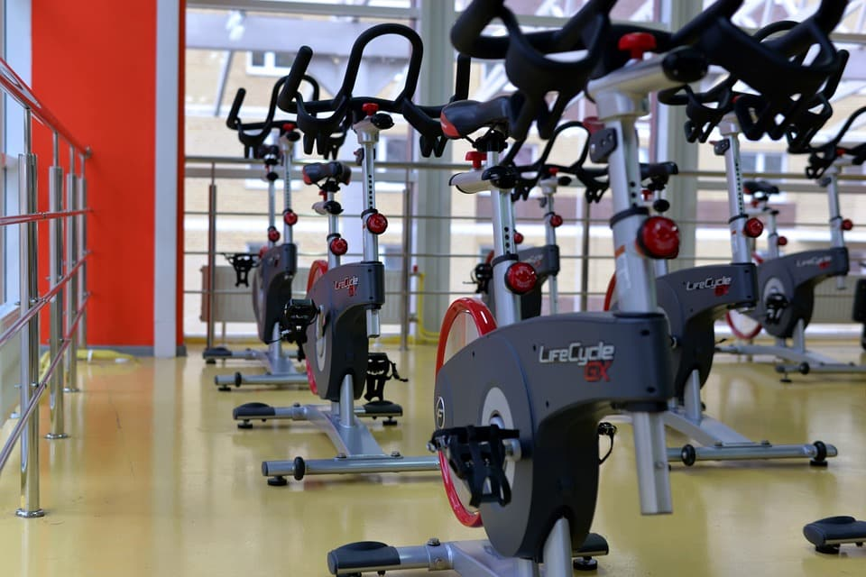 exercise bikes in a workout studio